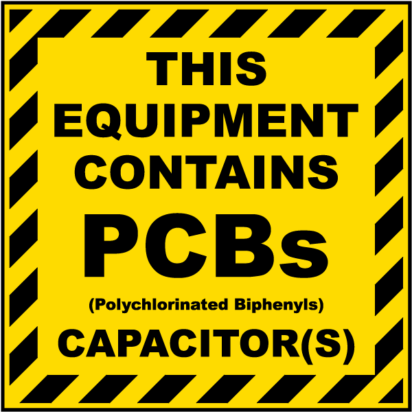 This Equipment Contains PCBs Polychlorinated Biphenyls Capacitors label