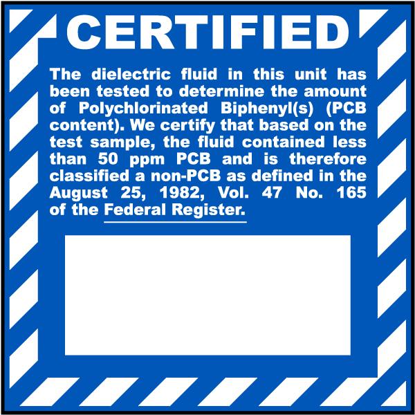 Certified Non PCB Label