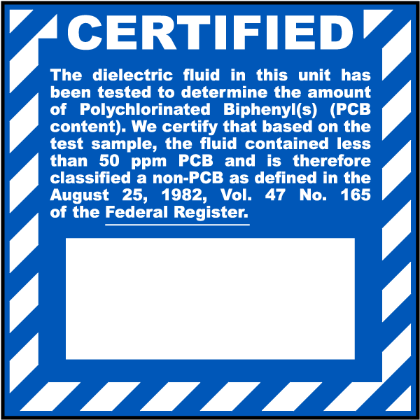 Certified Non PCB Label