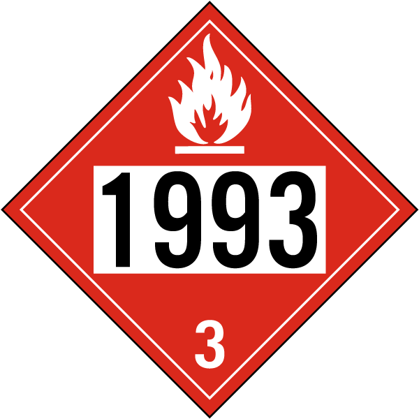 Hazard Class 3 Flammable Liq., N.O.S., Combustible Liq.; N.O.S. Flammable Liquid 1993 DOT Placard