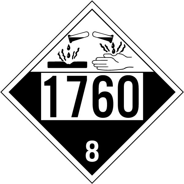 UN # 1760 Class 8 Corrosive Placard