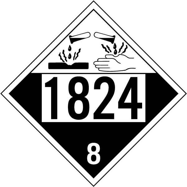 Hazard Class 8 Sodium Hydroxide Solution Corrosive 1824 DOT Placard