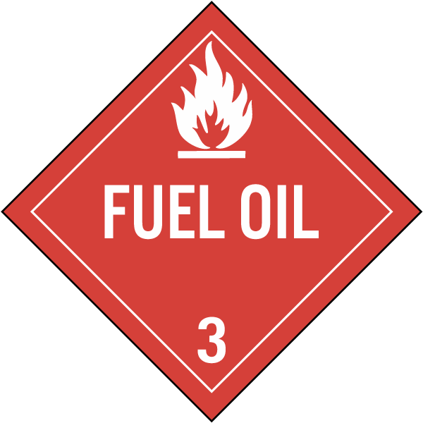 Hazard Class 3 Fuel Oil DOT Placard