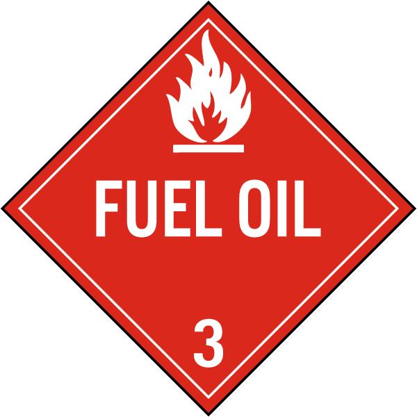 Fuel Oil Class 3 Placard