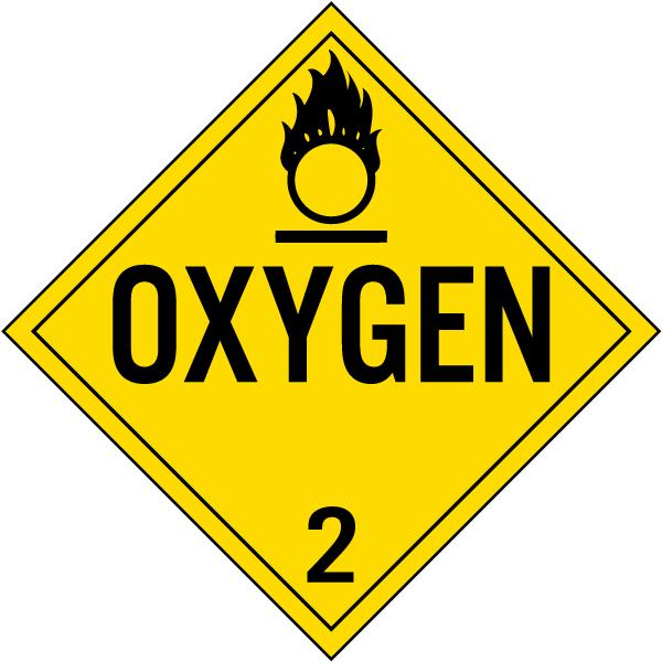 Oxygen Class 2 Placard