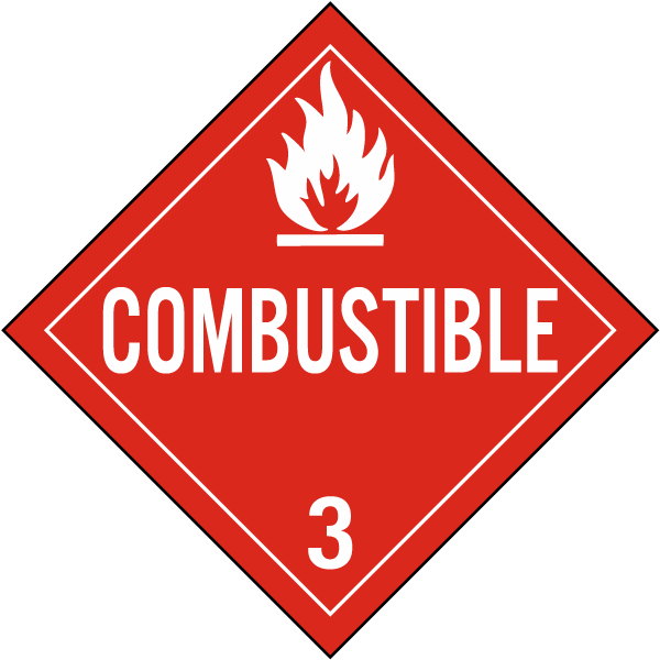 Combustible Class 3 Placard