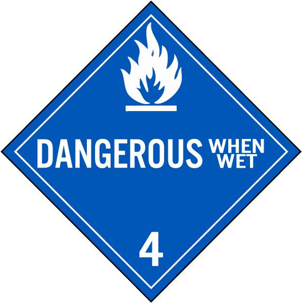 Dangerous When Wet Class 4 Placard