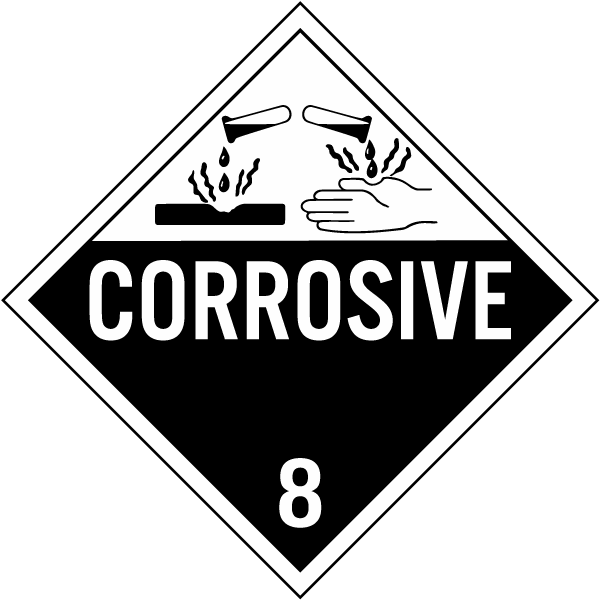 Corrosive Class 8 Placard