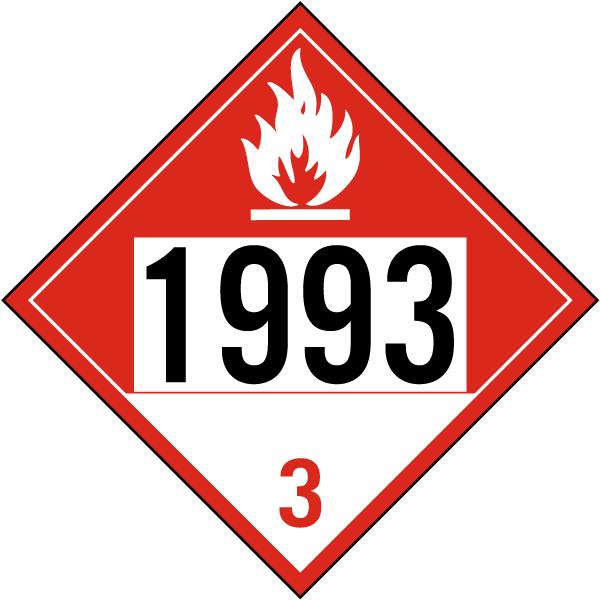 UN # 1993 Class 3 Combustible Liquid Sign