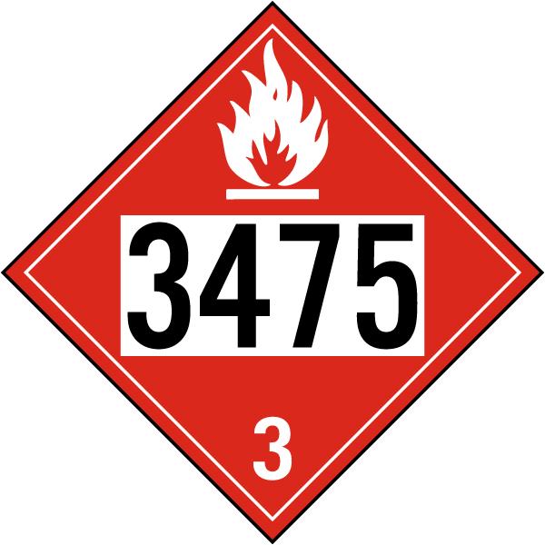 UN # 3475 Flammable Liquid Class 3 Placard