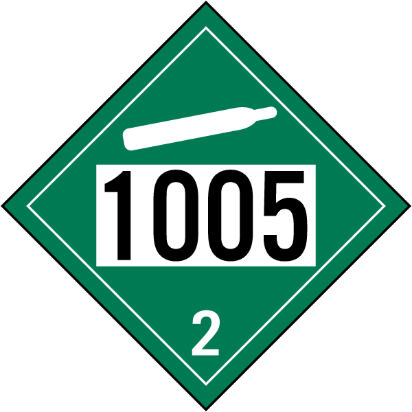UN # 1005 Non-Flammable Gas Class 2 Placard