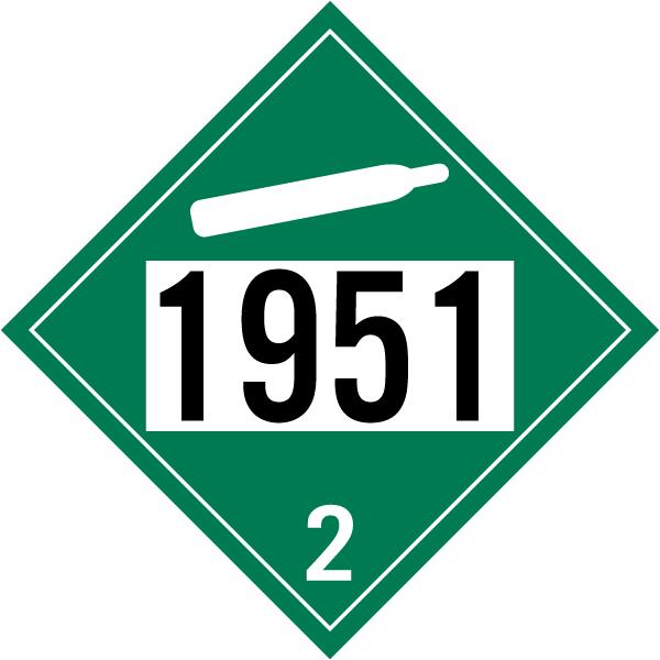 UN # 1951 Non-Flammable Gas Class 2 Placard