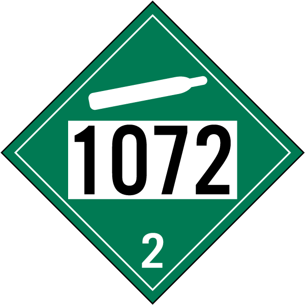 UN # 1072 Non-Flammable Gas Class 2 Placard