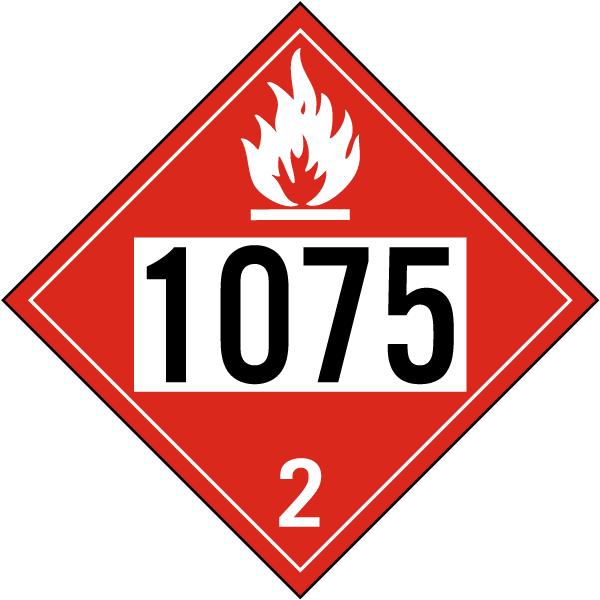 UN # 1075 Flammable Gas Class 2 Placard