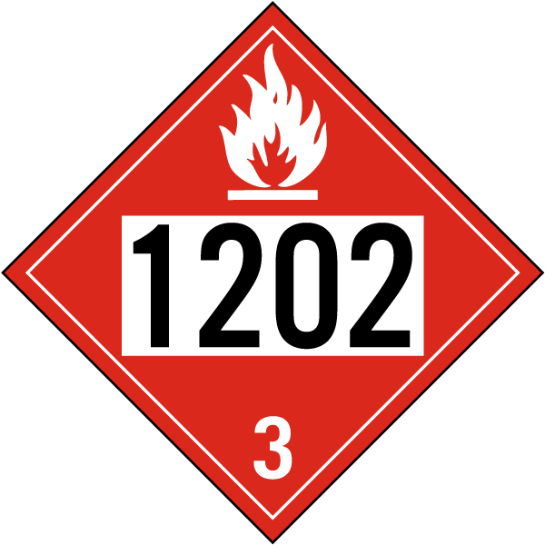 Hazard Class 3 Gas, Oil, Diesel Fuel, Heating Oil Flammable Liquid 1202 DOT Placard