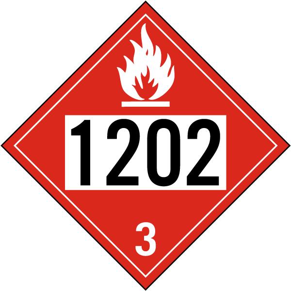 UN # 1202 Flammable Liquid Class 3 Placard