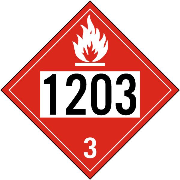 UN # 1203 Flammable Liquid Class 3 Placard