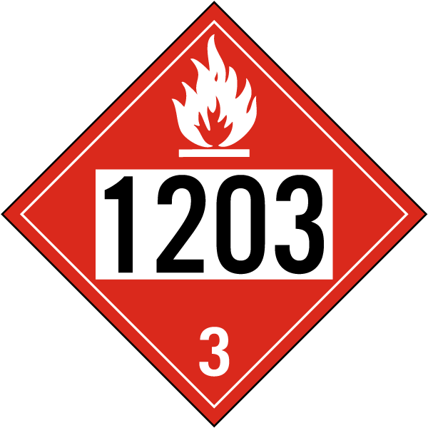Hazard Class 3 Gasoline Flammable Liquid 1203 DOT Placard