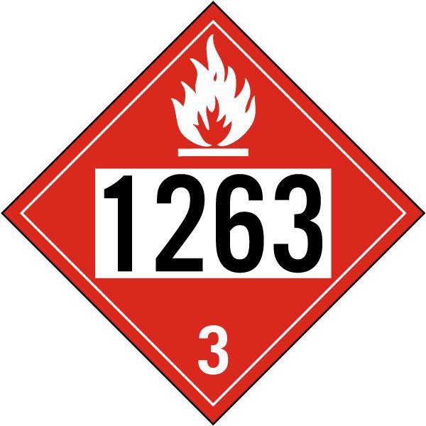 UN # 1263 Flammable Liquid Class 3 Placard