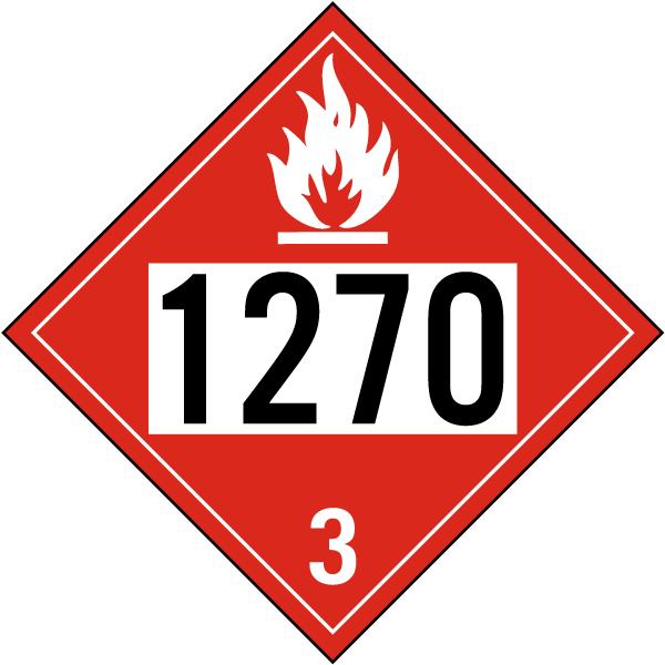 UN # 1270 Flammable Liquid Class 3 Placard