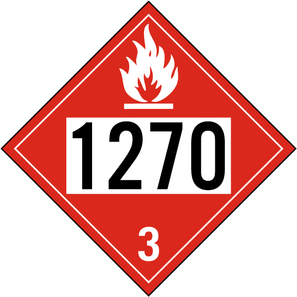 Hazard Class 3 Petroleum Oil Flammable Liquid 1270 DOT Placard