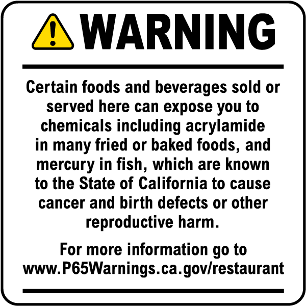 Food and Non-Alcoholic Beverage Exposure Warning Point of Sale Sign for Restaurants