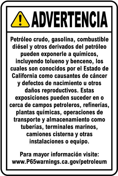 Spanish Petroleum Products Warning Sign