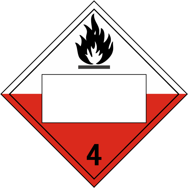 Hazard Class 4 Spontaneously Combustible DOT Placard