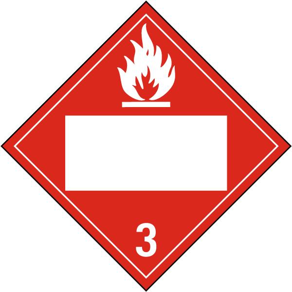 Blank Flammable Liquid Class 3 Placard