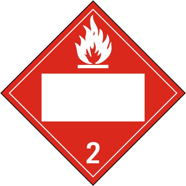 Blank Flammable Gas Class 2 Placard