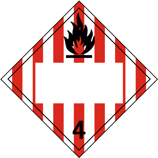 Blank Flammable Solid Class 4 Placard