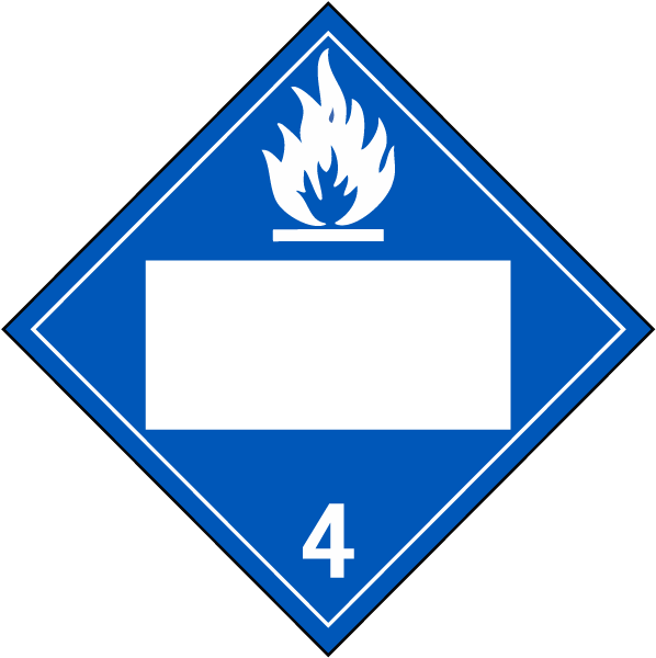 Blank Dangerous When Wet Class 4 Placard
