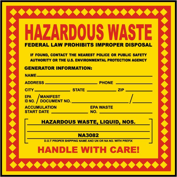 Hazardous Waste Stickers Non Hazardous Waste Stickers