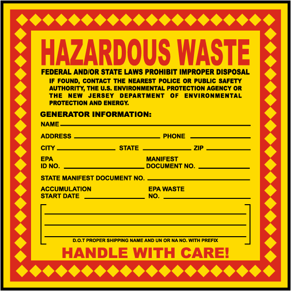 Hazardous Waste Federal Law Prohibits New Jersey EPA Req. Label