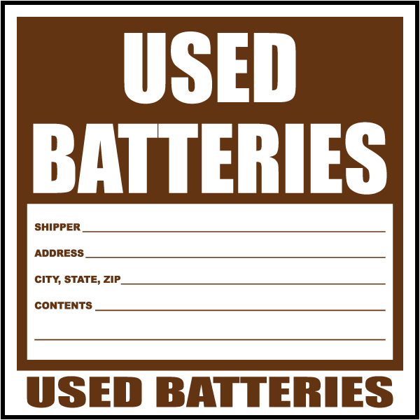 Used Batteries Waste Label