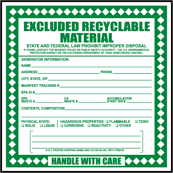 Excluded Recyclable Material Label