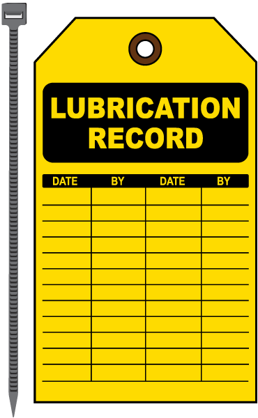 Lubrication Record Tag