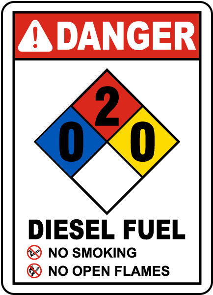 Danger Diesel Fuel No Smoking No Open Flames NFPA Rating 0-2-0