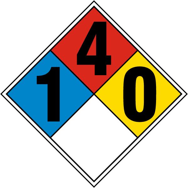 Hazard Diamond: NFPA Diamond Rating 1-4-0 By SafetySign.com- M3357