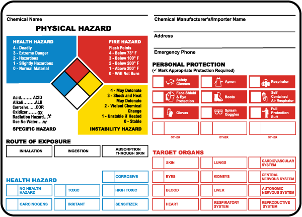 NFPA- Chemical ID Label