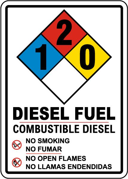 Bilingual NFPA Diesel Fuel 1-2-0 Sign