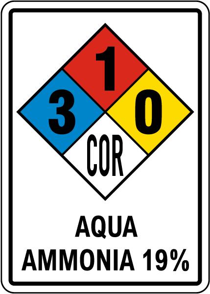 NFPA Aqua Ammonia 19% 3-1-0 Sign