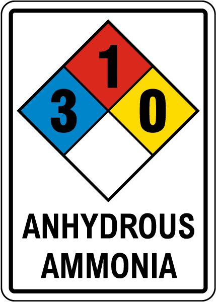 NFPA Anhydrous Ammonia 3-1-0 Sign