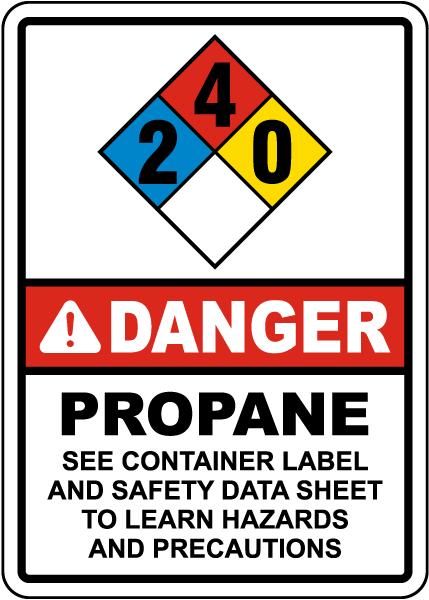 NFPA Danger Propane 2-4-0 Instructions Sign
