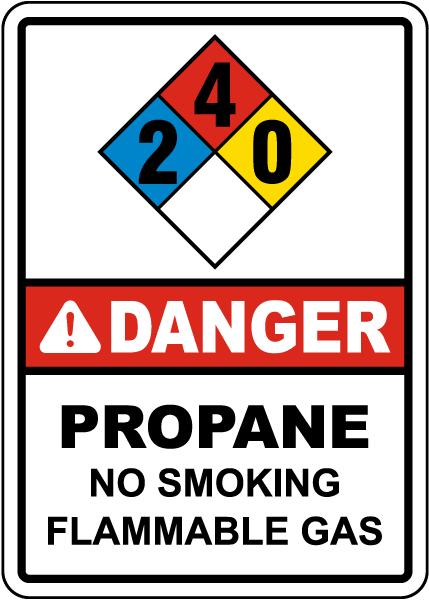 NFPA Danger Propane 2-4-0 No Smoking Flammable Gas Sign
