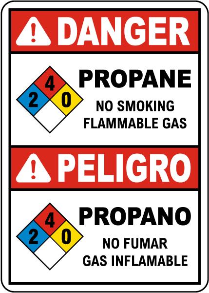 Bilingual NFPA Danger Propane 2-4-0 No Smoking Flammable Gas Sign