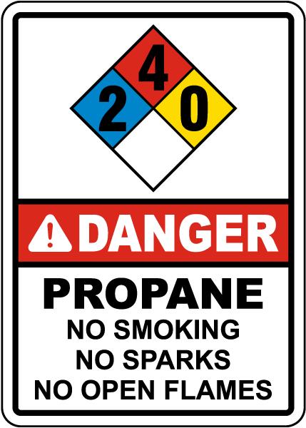 NFPA Danger Propane 2-4-0 No Smoking No Sparks Sign