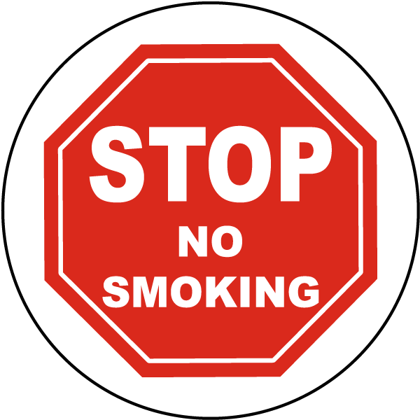 Stop No Smoking Floor Sign
