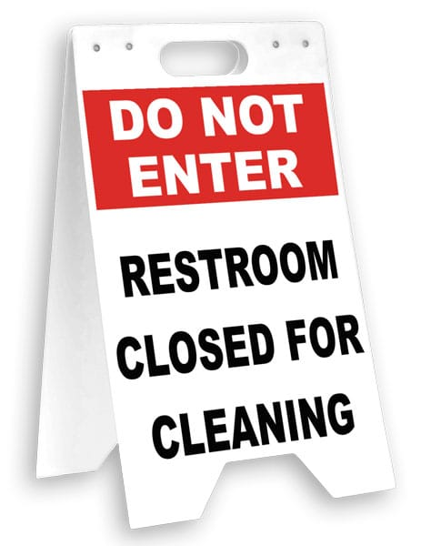 Restroom Closed For Cleaning Floor Sign