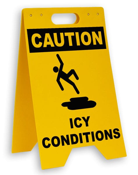 Caution Icy Conditions Floor Sign